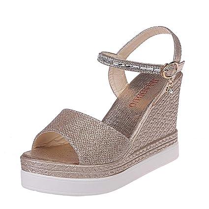 ab6b2b5e2e Amazon.com : Fiaya Women Fashion Boho Diamond Shine Peep Toe Ankle Strap  Buckle Flock Espadrille Wedges High Sandals Outdoor Casual Shoes (US:6.5,  ...
