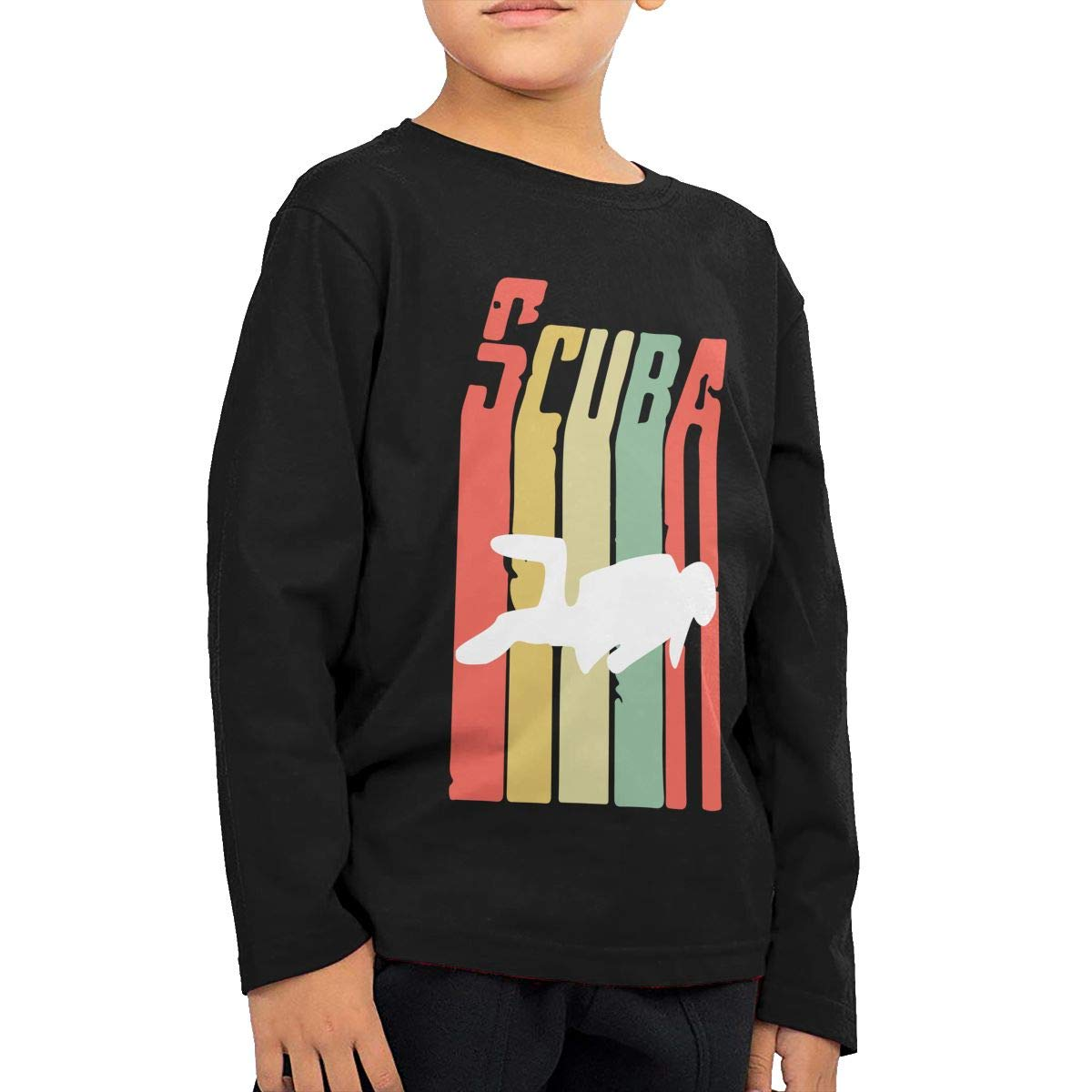 Toddler Childrens Vintage Scuba Diver Printed Long Sleeve 100/% Cotton Infants Tee Shirt