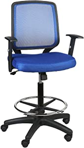 Office Chair,Armchair Fabric Seat,Swivel Chair with Foot Rest,Mesh Back,Padded Seat Fabric Surface,Home/Office Chair Comfort Foot-Ring,Height Adjustable,Mid Back Mesh Task Chair,by U-Eway (Blue)