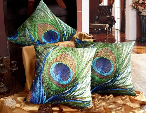 Elegant Decorative Throw Pillow Cover - Peacock Feathers Design on Both Sides - Return Shipping Covered for Continental US Regions