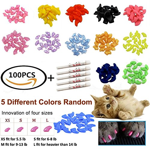 JOYJULY 100pcs(5 sets) Soft Pet Cat Nail Caps Claws Control Paws Of 5 Different Colors Caps+ 5 Adhesive Glue - Cat Nail Caps Small