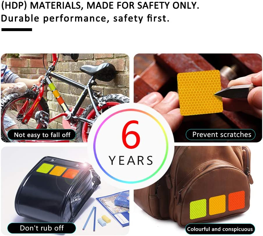 20Pcs 6cm Square High Intensity Grade Reflective Tape Pack Safety Warning Decal Stickers Pack Reflective Stickers Pack for Backpack Car Motorcycle Bike Yellow