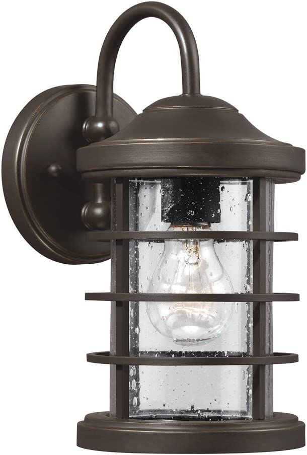 Sea Gull Lighting 8524401-71 Sauganash One-Light Outdoor Wall with Clear Seeded Glass Diffuser Antique Bronze Finish Seagull