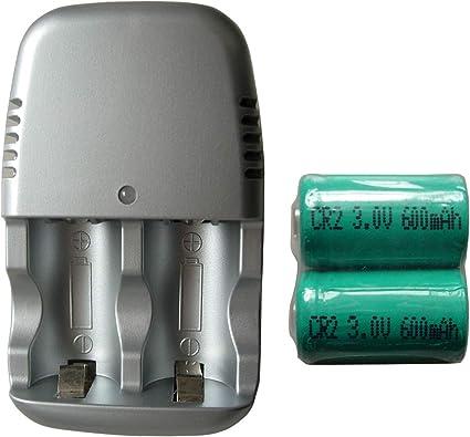 Amazon.com: 2 pilas recargables CR2 CR-2 15270 + cargador ...