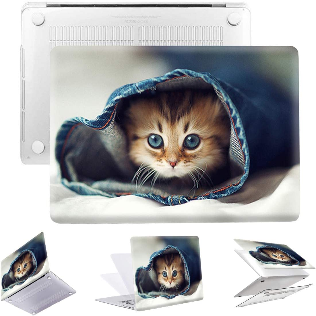 PapyHall MacBook Air 13 inch Case New 2 in 1 Color Painting Plastic Pattern Hard Case for Apple MacBook Air 13 inch Model: A1369 and A1466 (DZ-Cat)
