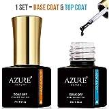 Gel Base and Top Coat Set Azure Beauty for Soak Off Gel Nail Polish Set