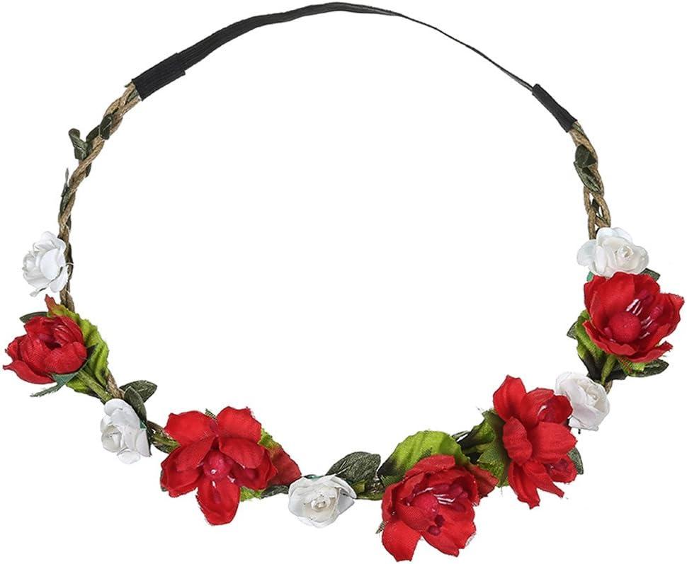 12shage Mode Guirlande de Fleur Bandeau Boho Floral Couronne pour Fille Femme Accessoires Cheveux Festival Mariage Beach F/ête