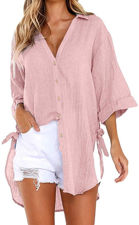 Orshoy Bluse Hemd Oberteil Damen V-Ausschnitt Sommer Lose Casual Bluse T-Shirt Top Tunika Elegant Langarmshirt Einfarbig Hemdbluse Langarmhemd Damenbluse S-3XL