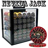 1000 Ct Nevada Jack 10 Gram Ceramic Poker Chip Set w/ Acrylic Carrier & Chip Trays by Brybelly