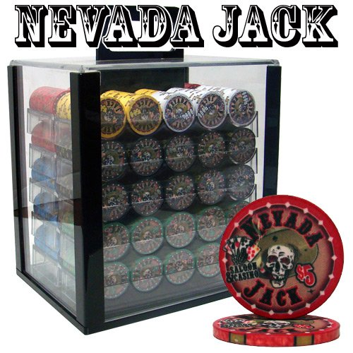 1000-Ct-Nevada-Jack-10-Gram-Ceramic-Poker-Chip-Set-w-Acrylic-Carrier-Chip-Trays-by-Brybelly