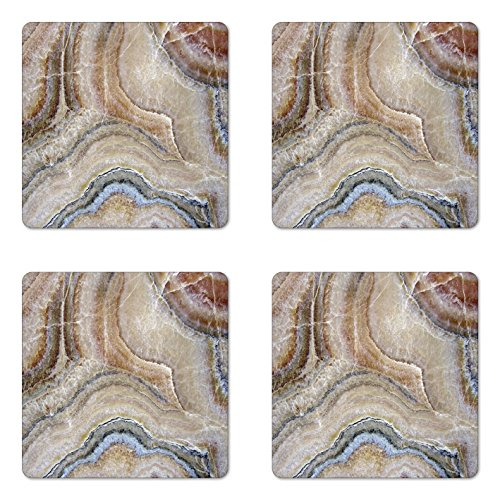 (Ambesonne Marble Coaster Set of 4, Surreal Onyx Stone Surface Pattern Pale Blue Details Picture, Square Hardboard Gloss Coasters for Drinks, Standard Size, Cinnamon Grey)