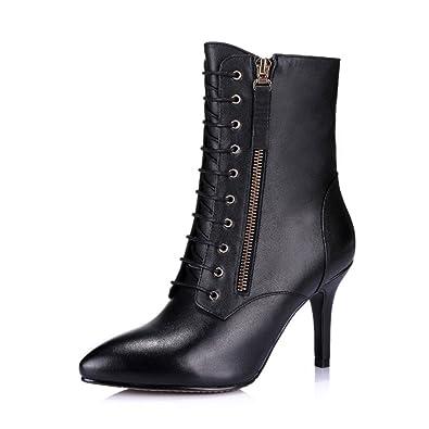 ANNIESHOE Leder Stiefeletten Damen mit Absatz Biker Boots High Heels Herbst  Winter Schwarz 25.5cm a857b8f158