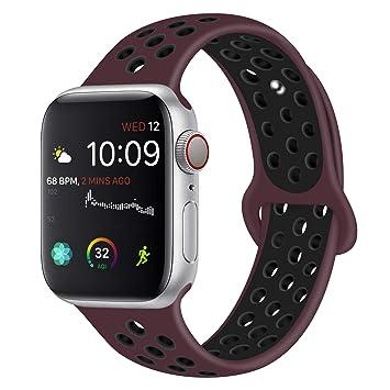 VODKER para Apple Watch Correa, 38mm 40mm 42mm 44mm Silicona Suave Reemplazo Sport Banda para