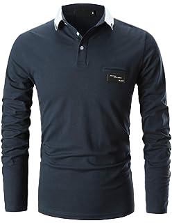 GHYUGR Casual Polo de Mangas Largas para Hombre Algodón Slim Fit Camiseta  Camisas Deporte Golf Tennis f8ea4408267fd