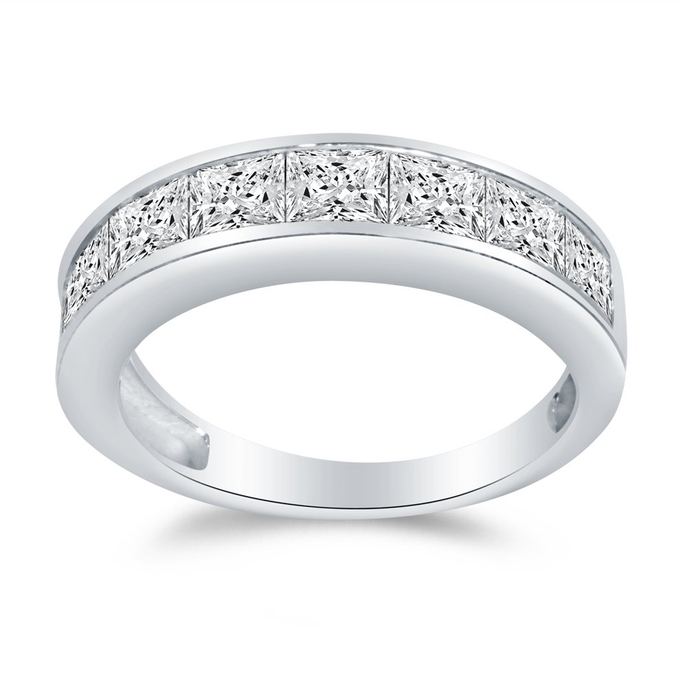 Size - 5 - Solid 14k White Gold 4mm Princess Cut Invisible Anniversary Ring Wedding Band Highest Quality CZ Cubic Zirconia 1.50cttw.
