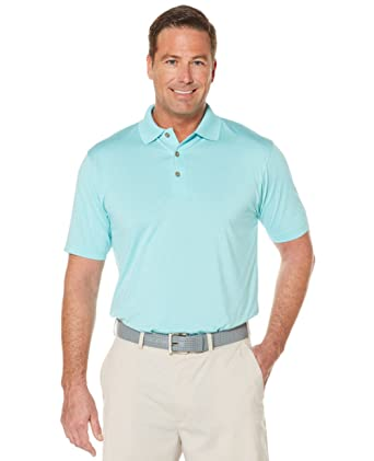 e21ae88f Grand Slam Men's Classic-Fit Patterned Driflow Performance Golf Polo (4XB,  Light Teal