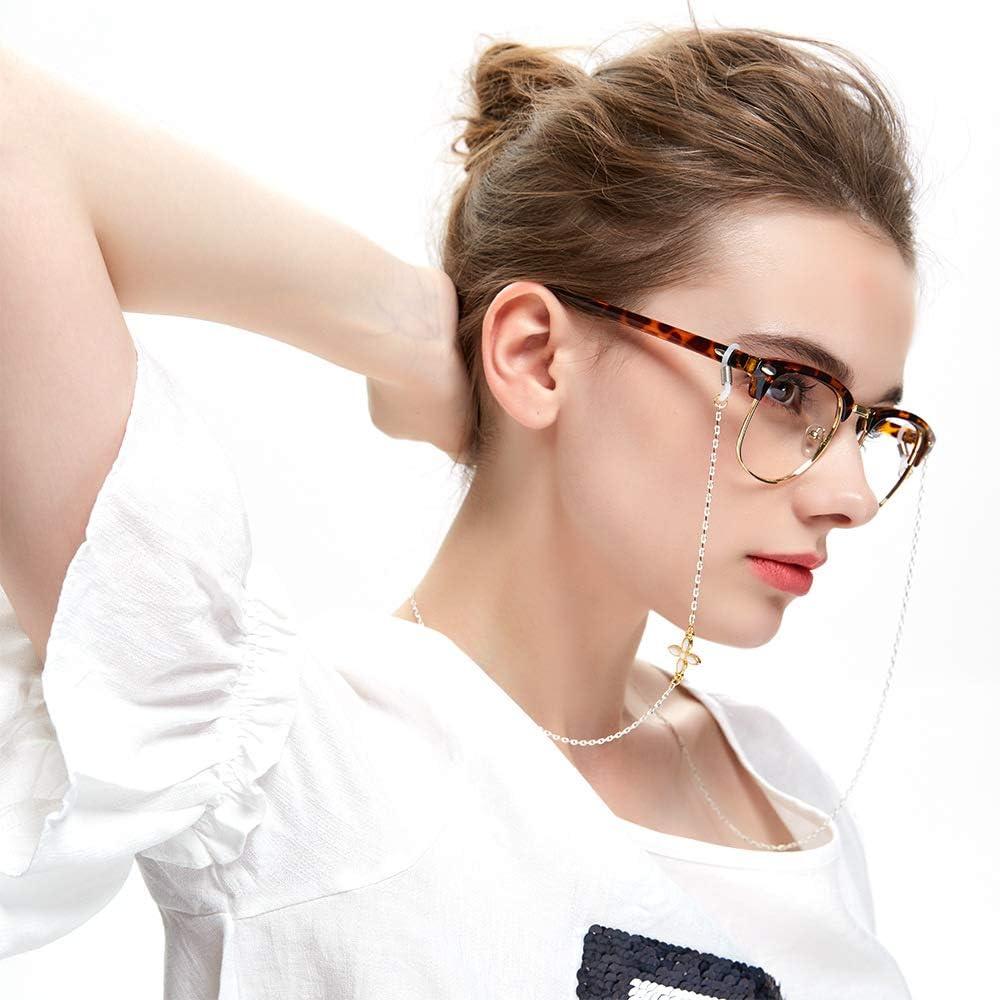 2 pcs Colliers de lunettes pour lunettes de soleil Femmes Lunettes de lecture Chaîne avec pendentif fleur à quatre feuilles Lunettes Bande Lunettes