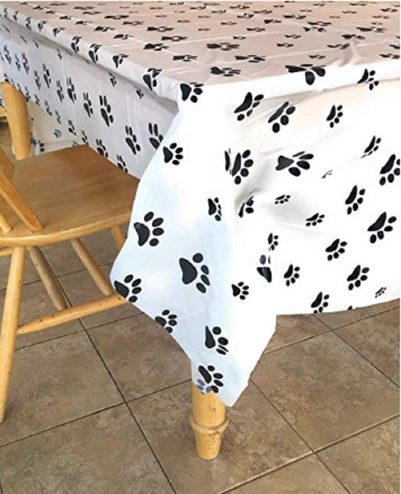 Puppy Dog Paw Print Plastic Table Cover (6) by Bark & Lindy (Image #1)