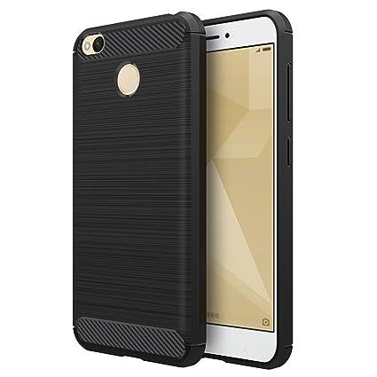 Simpeak Funda Compatible Xiaomi Redmi 4X (5,0 Pulgadas), Negro Silicona Fundas Redmi 4X Carcasa Xiaomi Redmi 4X Fibra De Carbono Funda Case