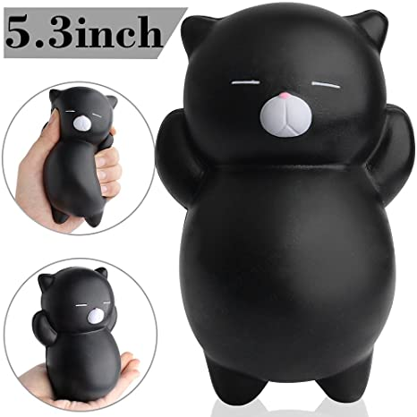 Outee Squishies Slow Rising, Jumbo Black Cat Squishy Slow Rising Squishies de Gato Jumbo Perfumado