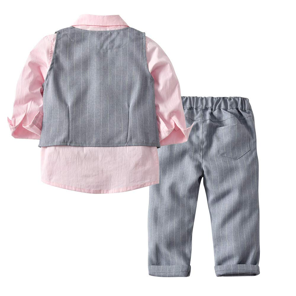 Star/_wuvi Toddler Baby Boys Long Sleeve Shirt Bowtie Gentleman Vest Pants T-Shirt Tops Casual Outfits 4 Piece Set