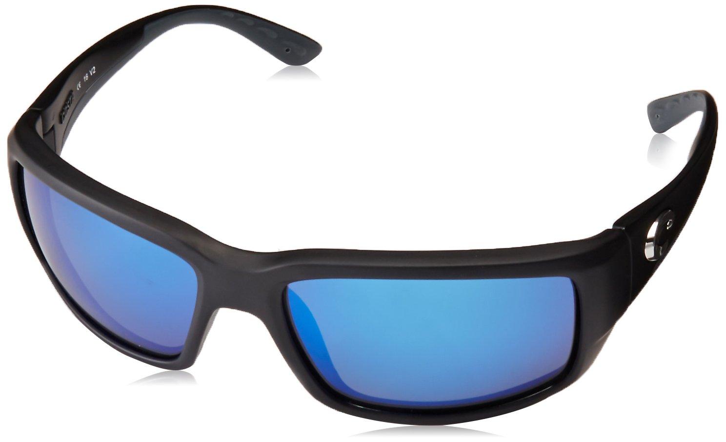 Costa del Mar Unisex-Adult Fantail TF 11 OBMGLP Polarized Iridium Rectangular Sunglasses, Black, 59.3 mm