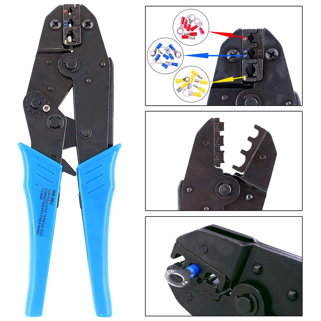 Hilitchi Professional Insulated Wire Terminals Connectors Ratcheting Crimper Tool for 22-10AWG by Hilitchi