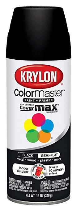 Krylon 53565 Semi Flat Black Interior And Exterior Decorator Paint 12 Oz Aerosol