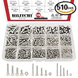 Hilitchi 510-Piece M2 M3 M4 Stainless Steel Hex Socket Head Cap Screws Nuts Assortment Kit with Box - 304 Stainless Steel