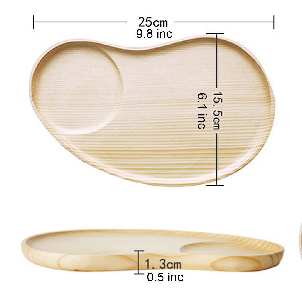 Set of 2 Fancy Wooden Platter Small Serving Tray Kids Plate for Appetizer, Cheese, Salad, Dessert Divided Dish by Ren Handcraft (Image #6)
