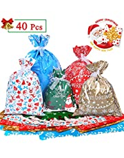 Omew Christmas Party Gift Bags, 40PCS Xmas Gift Wrapping Bags Large Size Assorted Styles Christmas Goody Bags Santa Treat Bags with Ribbon Ties for Christmas Party, Presents, Holiday Decorations