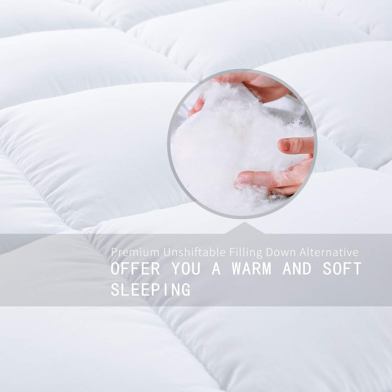 EcoMozz King Comforter with Corner Tabs - All Season Down Alternative Comforter - Soft Warm Quilted Duvet Insert - Hypoallergenic Fluffy Hotel Collection - White by EcoMozz (Image #4)