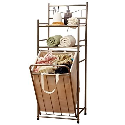 Orz Heavy Duty Laundry Hamper Sorter Cart Bathroom Storage Organizer Shelf Clothes Rack Basket Metal 3 Layer