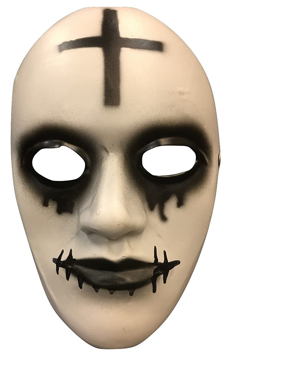 Amazon.com: The Purge Anarchy Movie Halloween Mask Cross Deluxe Fibreglass W/ Adjustable Buckle Strap …: Clothing