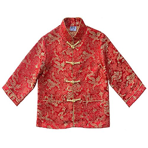 - Hooyi children Tang Coat Baby Boys Clothes Dragon Party Costumes Boy Jackets (Red, 12)