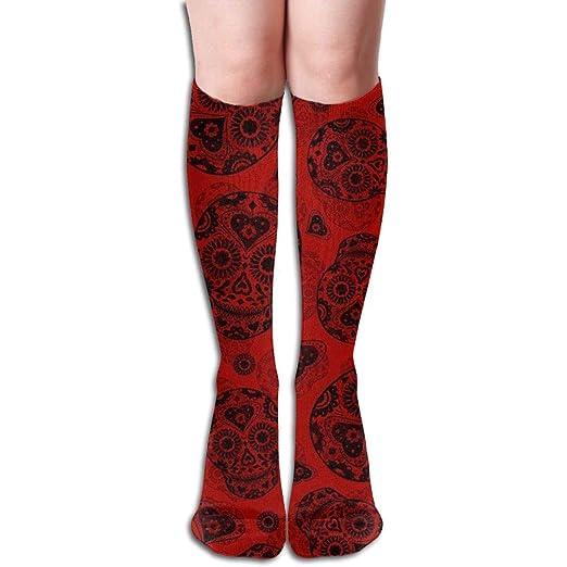 2b776243ecdf8 Amazon.com: ZOZGETU Long Socks Red and Black Sugar Skulls ...