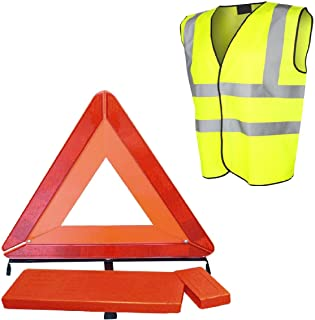 Large Reflective Warning Triangle Sign & Safety Vest/Emergency Car Recovery