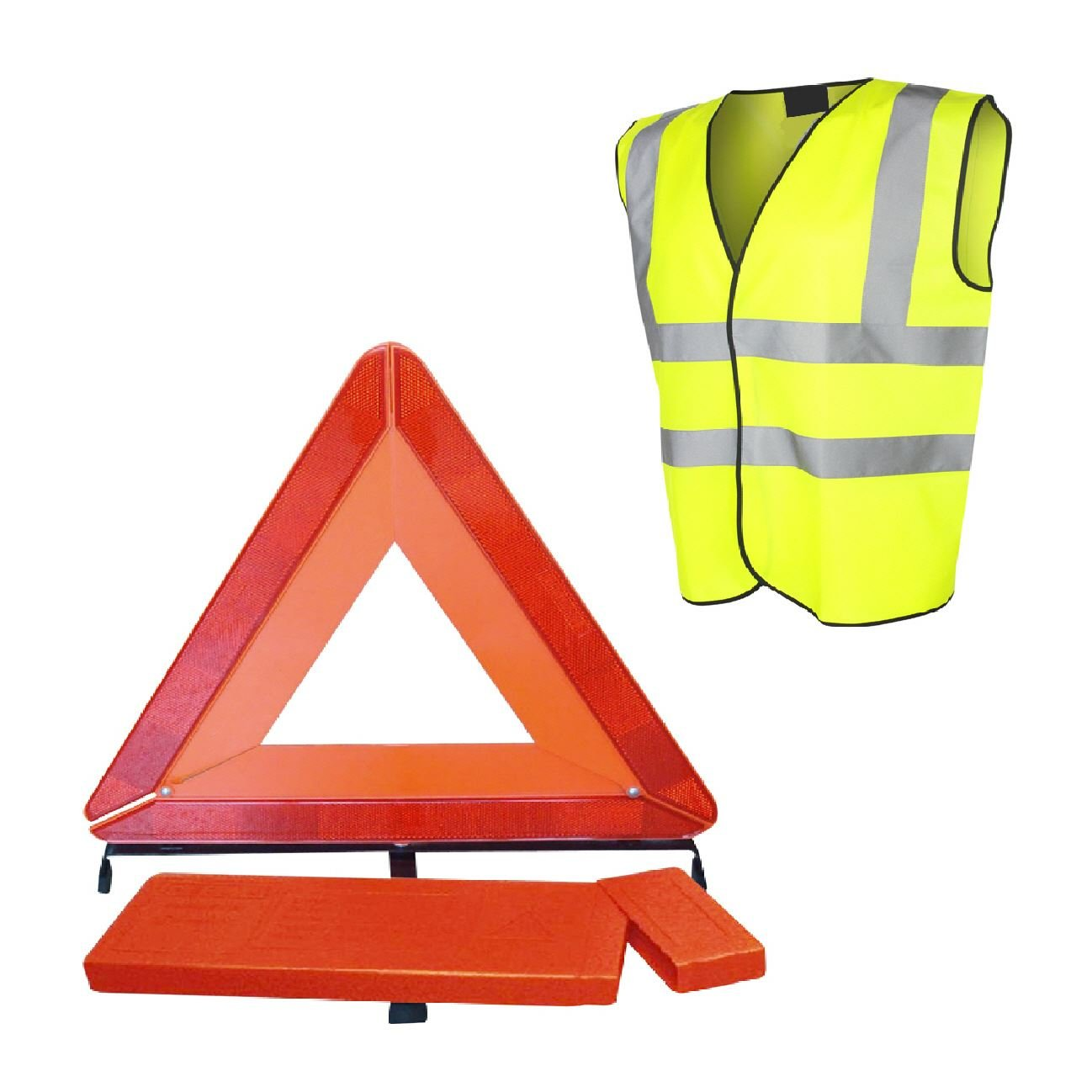 Large Reflective Warning Triangle Sign & Safety Vest/Emergency Car Recovery Roadster