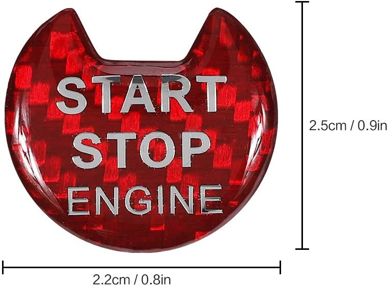 Engine Start Stop Button Sticker Carbon Fiber Key Lgnition Cover Interior Button Trim Push to Start Protective Film for Nissan Altima Maxima Pathfinder Titan Murano Infiniti Q50 Q60 QX60(Red)