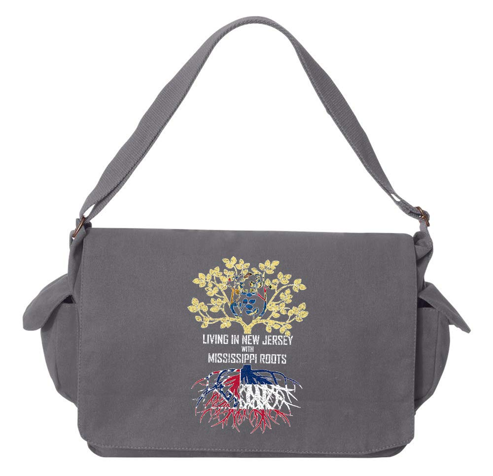 Tenacitee Living In New Jersey with Mississippi Roots Grey Brushed Canvas Messenger Bag