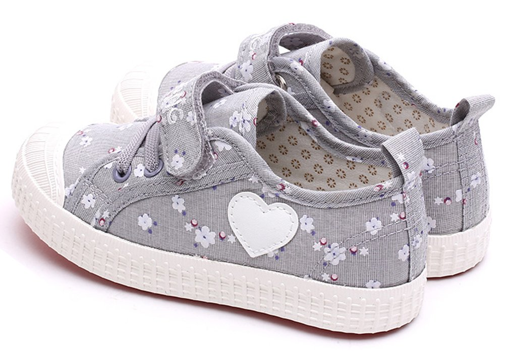 VECJUNIA Girls Sweet Floral Heart Painted Round Toe Canvas Shoes Gray 11.5 M US Little Kid by VECJUNIA (Image #3)
