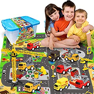 Engineering Construction Vehicles Toys Sets, with Play City Mat, Toy Trucks, Mini Pull Back Cars Playset, Toy Gift for Boys, Girls, Kids & Toddlers