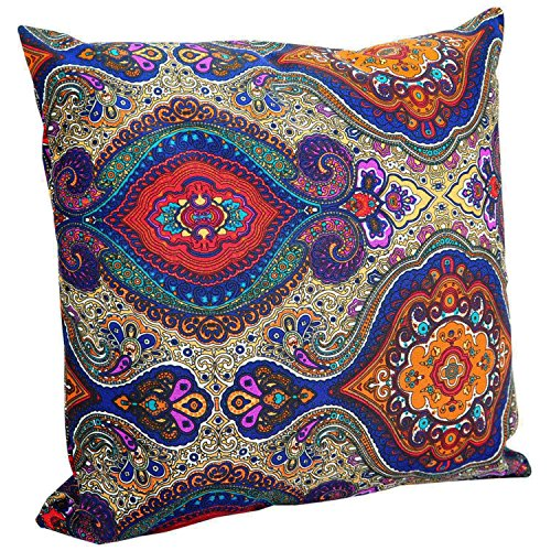 Throw Pillows Outdoor Paisley (Benfan Cotton Canvas Floral Toss Pillow Covers Zipper Pillow Cases Lumbar Cushion Cover for Sofa Couch Bench, 18x18 inches, Blue)