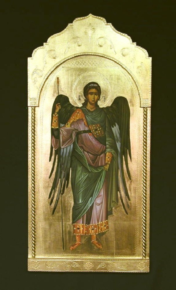Archangel Michael Florentine plaque, 21 x 45 inches. Made in Italy.