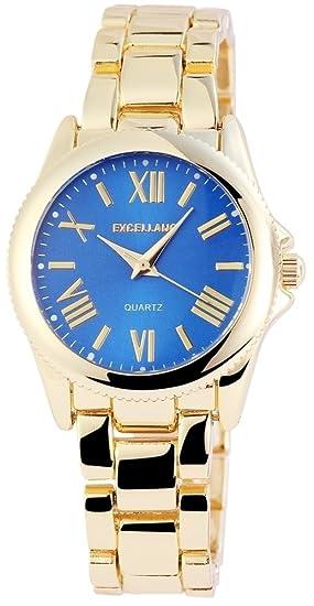 Mujer Azul Números Romanos Oro Metal Reloj de cuarzo reloj de pulsera