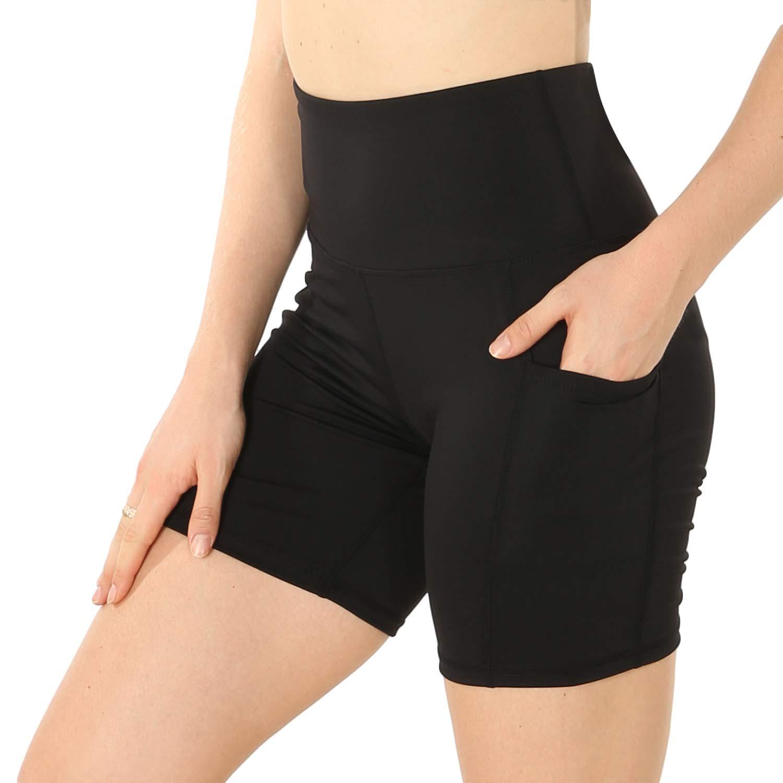 Black Speerise Women's High Waisted Yoga Shorts Spandex Dance Short Pants Workout Running Tights