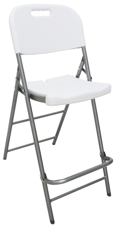 Sgabello sedia pieghevole Alto in dura resina di plastica bianco per bancone bar ristorante da locale pub birreria pizzeria struttura antiruggine in metallo e ferro grigio SAVINO FILIPPO SRL