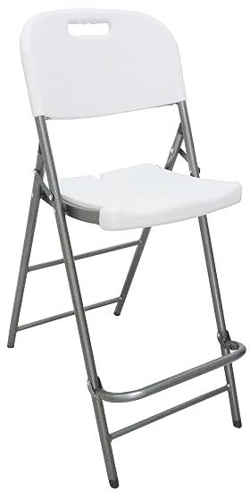 taburete silla Plegable Alto de Resina de plástico Blanco ...