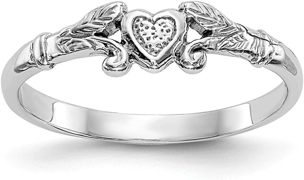 14k White Gold Textured Mini Heart Baby Band Ring Size 1.00 Fine Jewelry For Women Gifts For Her 61pThYqfWsL