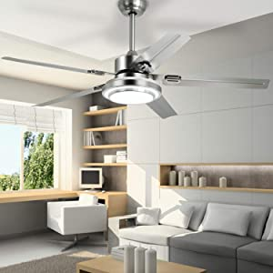 "Remote Control Ceiling Fan with LED Light and 5 Stainless Steel Blades, 52"" Brushed Nickel Indoor Fandelier Ceiling Fan"